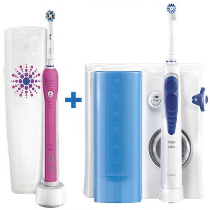 Ирригатор Oral-B MD20 OxyJet + зубная щетка Oral_B Pro 700 Pink 5 насадок