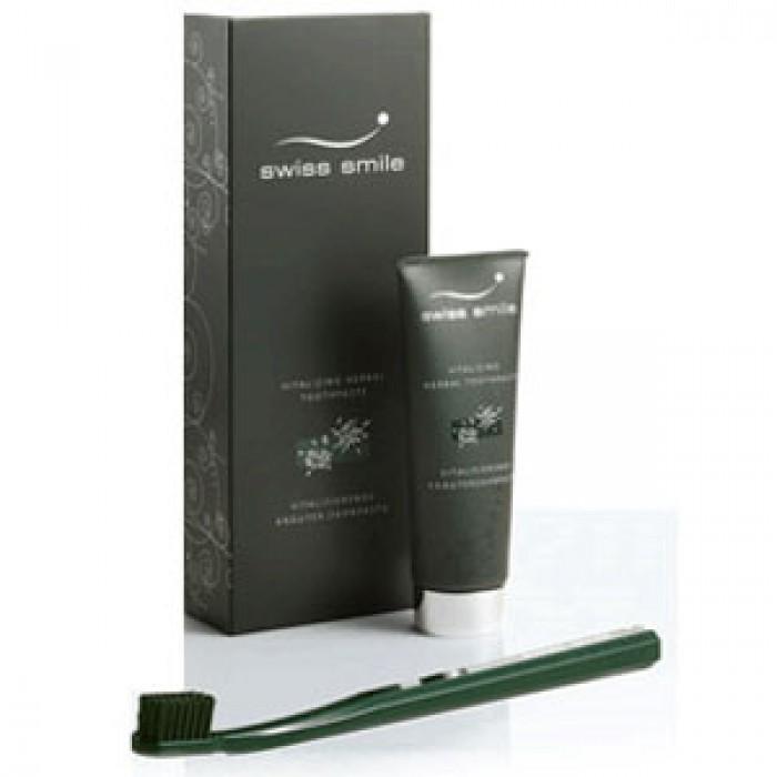 Набор: витаминно-травяная паста и мягкая зубная щетка Geneva, Swiss Smile, 75 мл.