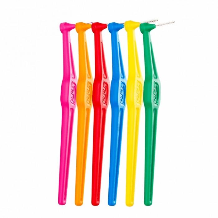 Набор ершиков межзубных с длинной ручкой от 0,4 до 0,8 мм Angle Mix, TePe, 6 шт.