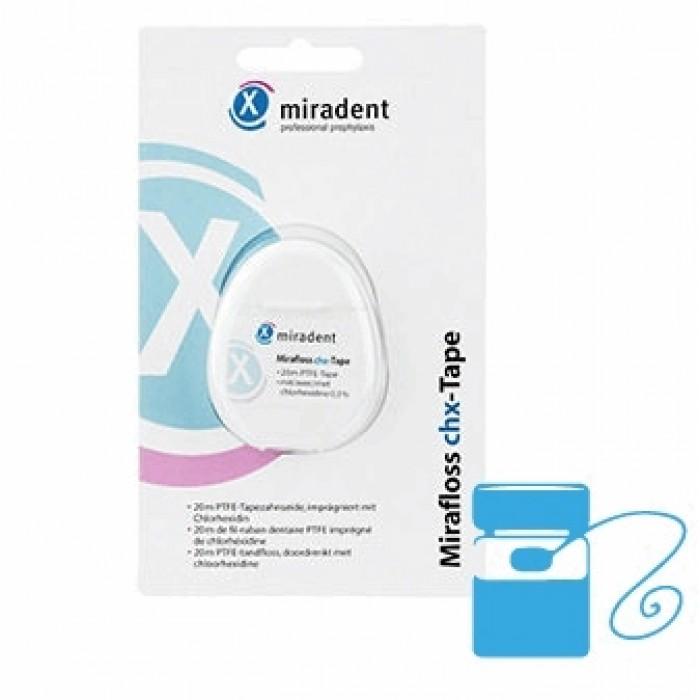 Нить зубная, флосс ленточный антибактериальный Mirafloss chx-Tape, Miradent, 20 м.