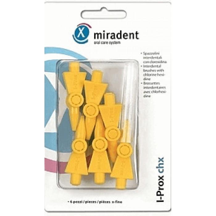 Ершики межзубные I-Prox chx x-fine Ø0,6 мм, цилиндрической формы, желтые, Miradent, 6 шт.