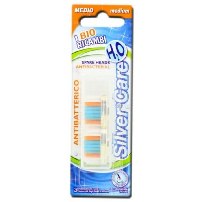 Сменные головки Silver Care Н2О в футляре для зубных щеток Н2О в футляре, Medium, Silver Care, 2 шт.