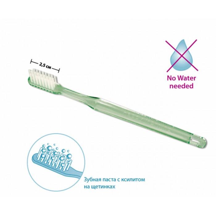 Одноразовая зубная щетка с напылением зубной пасты с ксилитом, Happy Morning Xylitol, Miradent.
