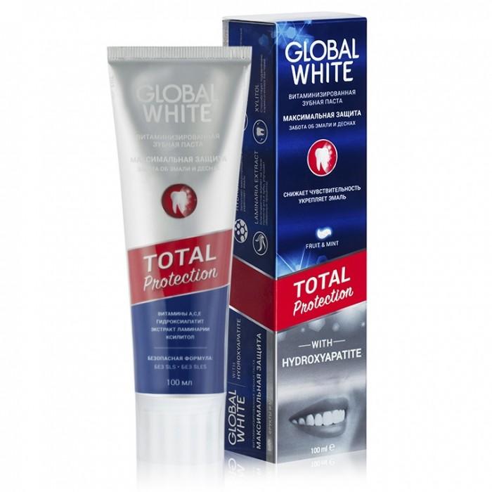 Зубная паста Total Protection для чувствительных зубов с гидроксиапатитом 100 г. Global White