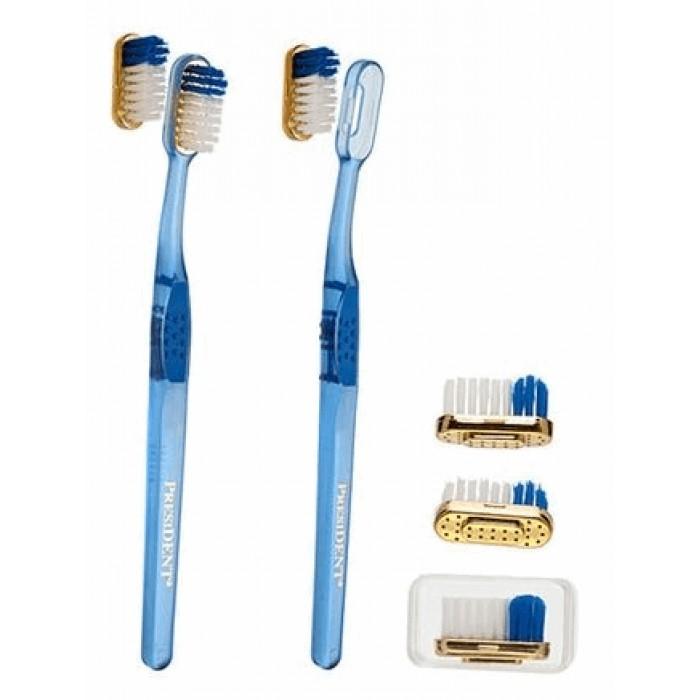 Зубная щетка с ионами золота и дополнительной сменной головкой, мягкая, Gold 24 karat, Soft, PresiDENT.