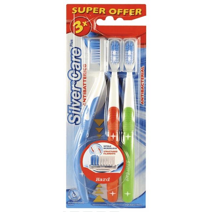 Набор зубных щеток Дельфин, жесткие, Silver Care, 3 шт.