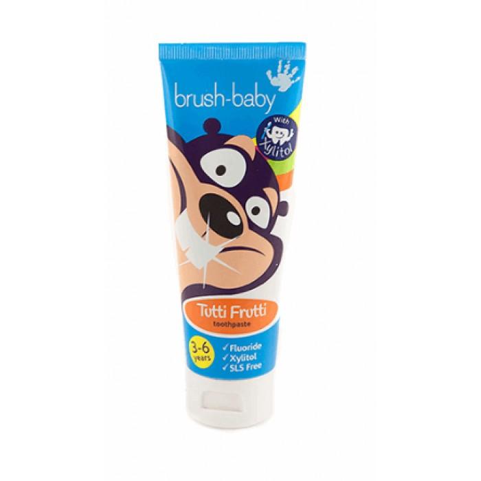 Детская зубная паста с 3-х до 6-ти лет со вкусом мультифрукта, Brush-Baby, 50 мл.