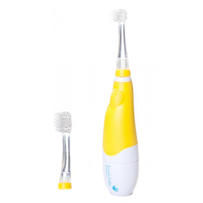 Детская электрическая звуковая зубная щётка BabySonic, от 0-ля до 3-х лет, жёлтая, Brush-Baby.