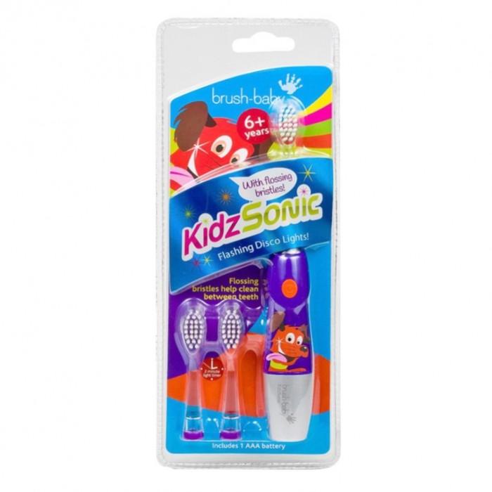 Детская электрическая звуковая зубная щетка KidzSonic, от 6-ти лет, фиолетовая, Brush-Baby.