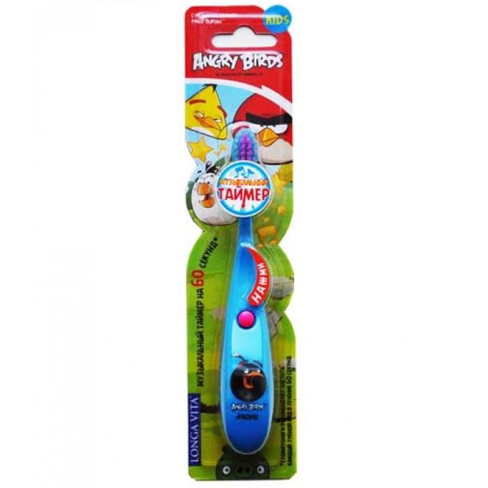 Детская зубная щетка Angry Birds от 3-х лет, музыкальная, Longa Vita.