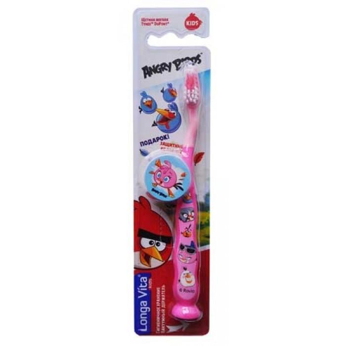 Дитяча зубна щітка Angry Birds від 5-ти років з присоскою і захисним ковпачком, Longa Vita.