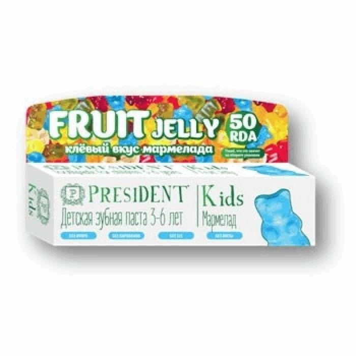 Детская зубная паста без фтора от 3-х до 6-ти лет Kids, мармелад, PresiDENT, 50 мл.
