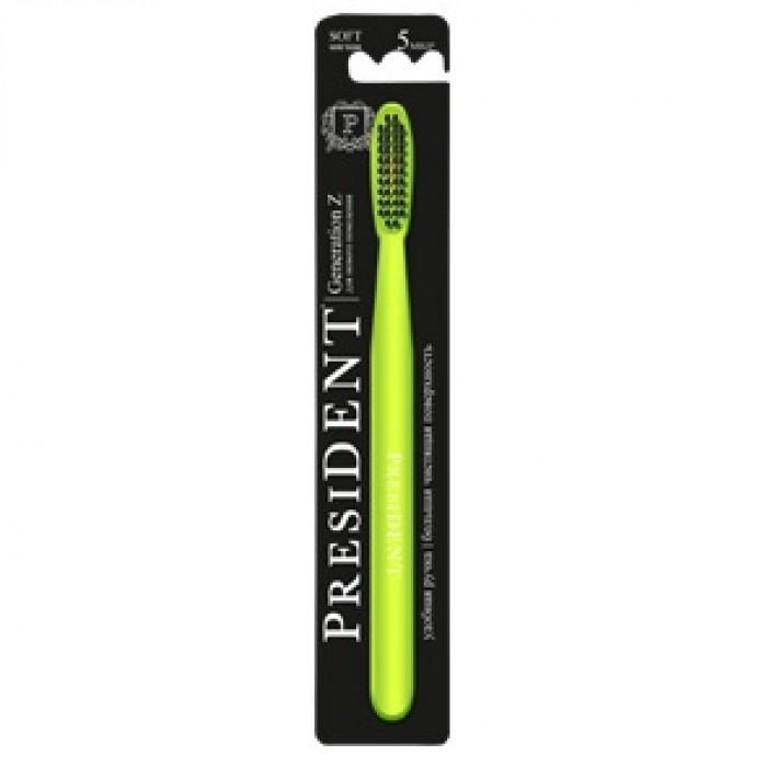 Зубная щетка Generation Z для подростков от 12 лет, мягкая, с большой головкой, PresiDENT.