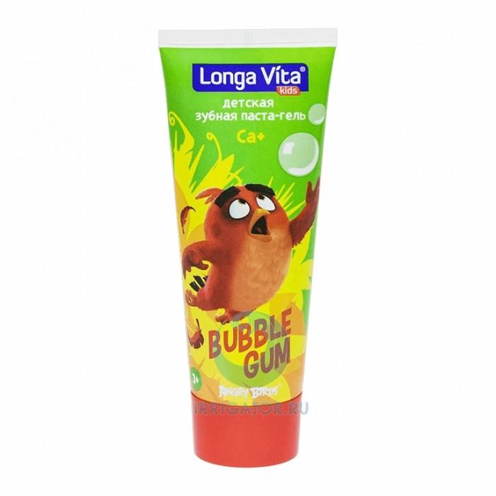 Детская зубная паста-гель от 3-х лет со фтором Bubble Gum, со вкусом жевательной резинки, Longa Vita, 75 г.