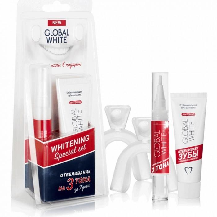 Набор для отбеливания в домашних условиях: зубная паста, гель 6%, каппы, Global White.