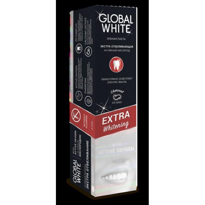 Зубная паста экстраотбеливающая с углем и активным кислородом Extra Whitening, Global White, 100 мл.