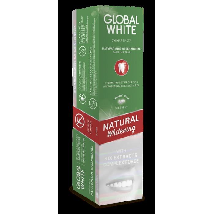 Зубная паста Натуральное отбеливание, Энергия трав, Natural Whitening, Global White, 100 мл.