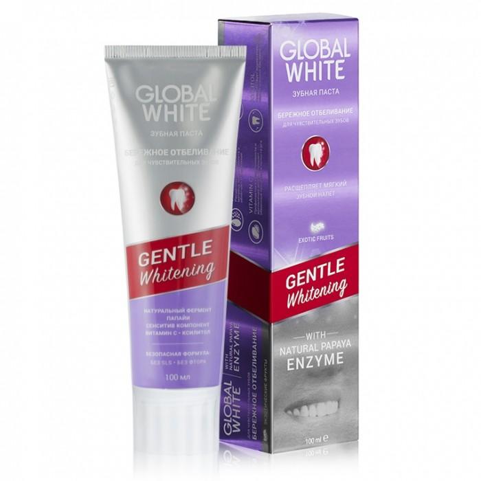 Зубная паста Нежное отбеливание для чувствительных зубов Gentle Whitening, Global White, 100 мл.