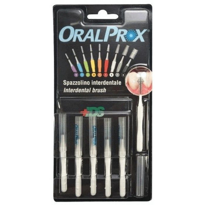 Ершики межзубные 0,71 мм (Ø стержня), от 4,50 до 6,50 мм (Ø ершика), конусообразные, белые, OralProx, Dr. Care, 6 шт.