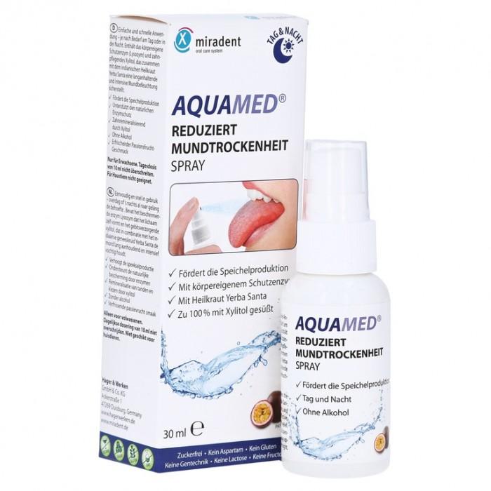 Увлажняющий спрей для полости рта Aquamed Spray Day & Night, против ксеростомии, Miradent, 30 мл.