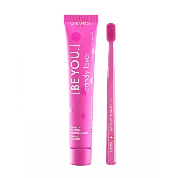 """Набор розового цвета: зубная паста со вкусом арбуза BE YOU """"Любитель конфет"""", 90 мл + зубная щетка CS 5460 Ultra Soft, Curaprox."""