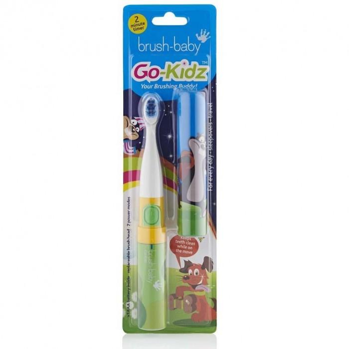 Детская электрическая звуковая зубная щетка с 3-х лет, зеленая, Go-Kidz, Brush-Baby.