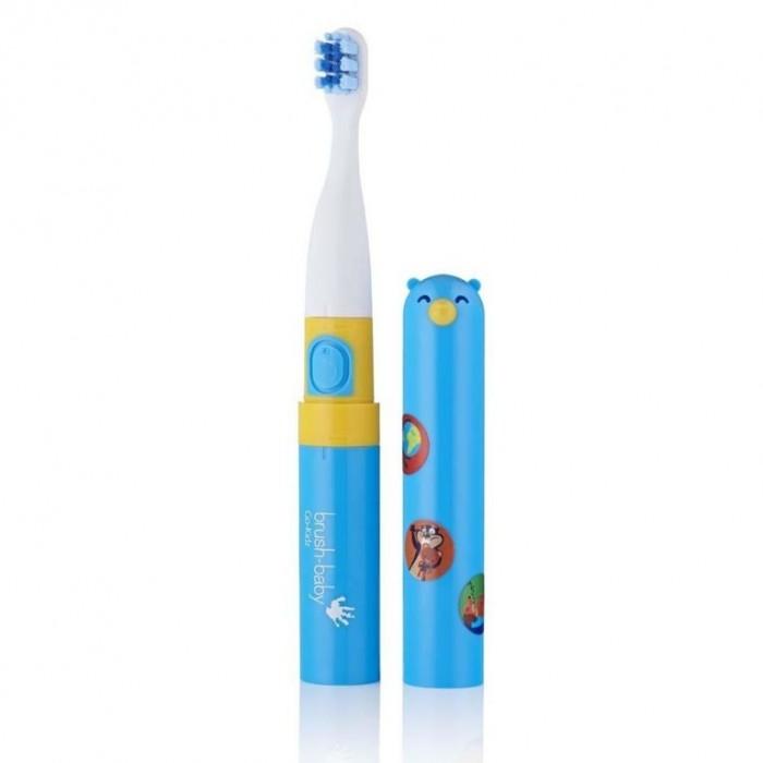 Детская электрическая звуковая зубная щетка с 3-х лет, синяя, Go-Kidz, Brush-Baby.