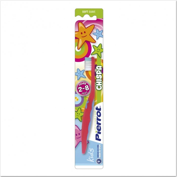Детская зубная щетка от 2-х до 8-ми лет, мягкая, Chispa, Pierrot.