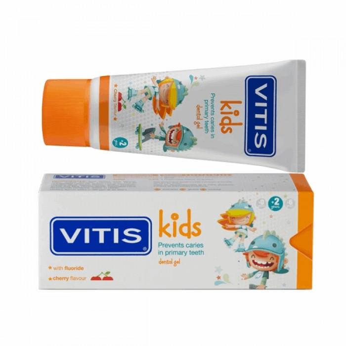 Детская зубная паста-гель Vitis Kids от 2 до 6 лет, вишневый вкус, Dentaid, 50 мл.