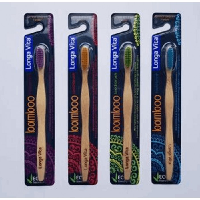 Зубная щетка бамбуковая для взрослых, Longa Vita.