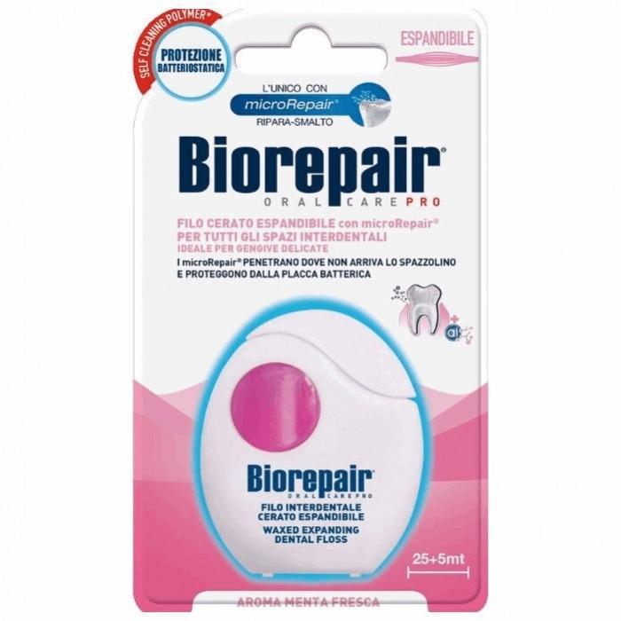 Расширяющаяся вощеная зубная нить для чувствительных десен Expanding Dental Floss, Biorepair, 30 м.