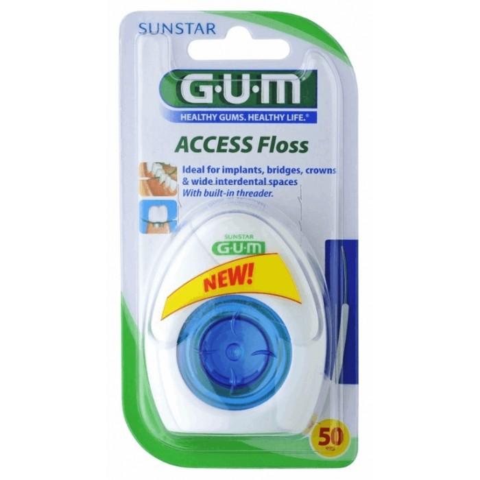 Зубная нить ортодонтическая для брекетов и имплантов, Access Floss, GUM, 50 нитей.