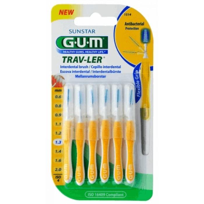 Межзубные ершики Trav-Ler №4 (1,3 мм), желтые, GUM, 6 шт.