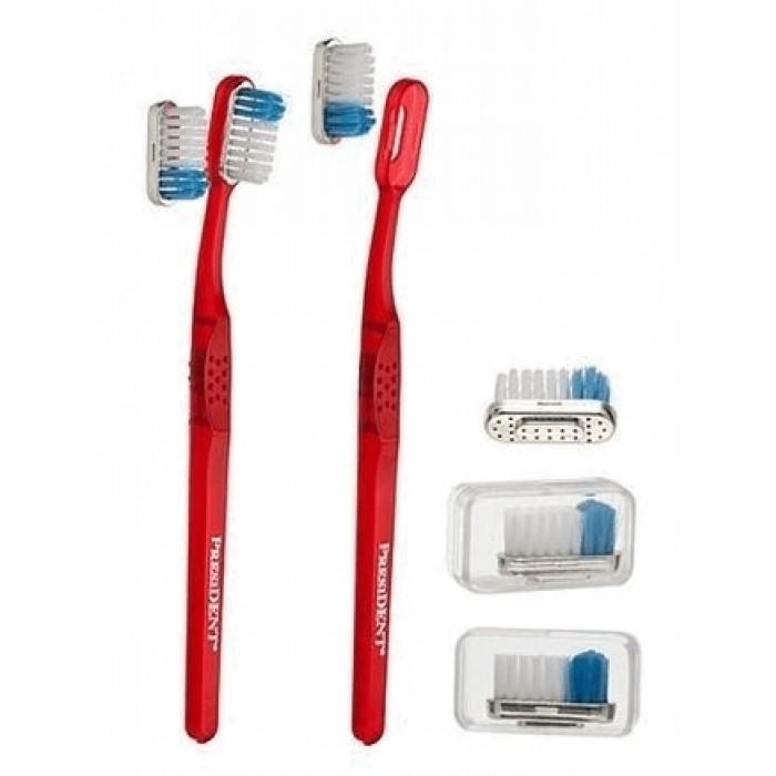 Зубная щетка с ионами золота и дополнительной сменной головкой, средняя, Gold 24 karat, Medium, PresiDENT.