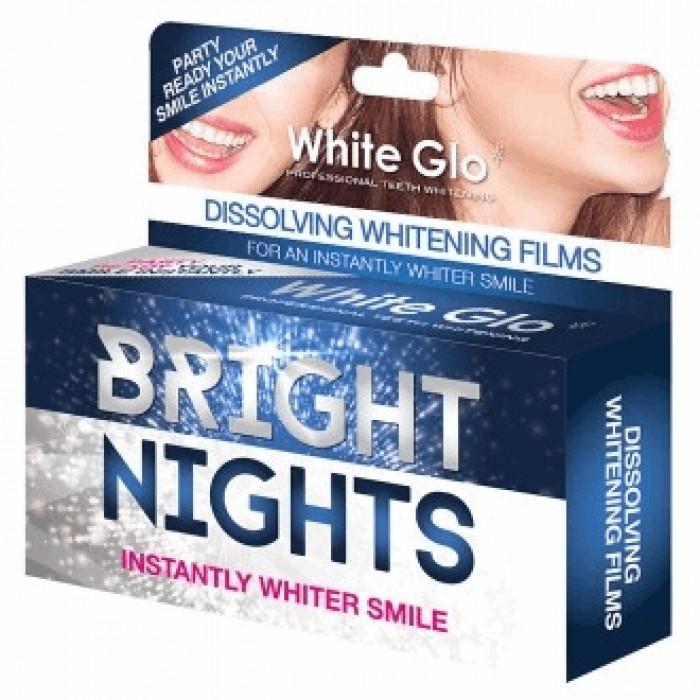 Отбеливающие растворяющиеся полоски Bright Nights для быстрого отбеливания, White Glo, 6 шт.