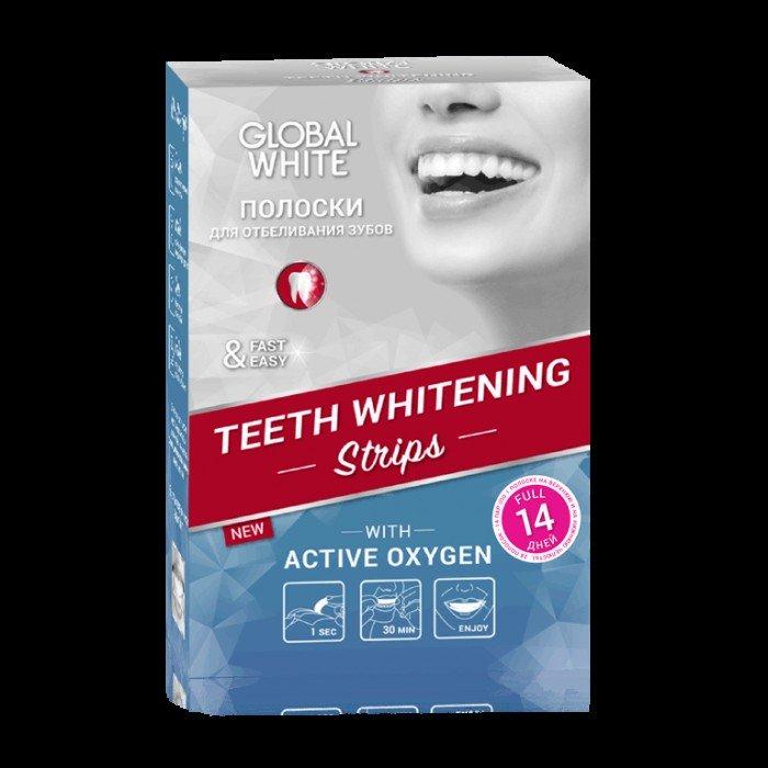 Отбеливающие полоски с активным кислородом Teeth Whitening, курс на 14 дней, Global White.