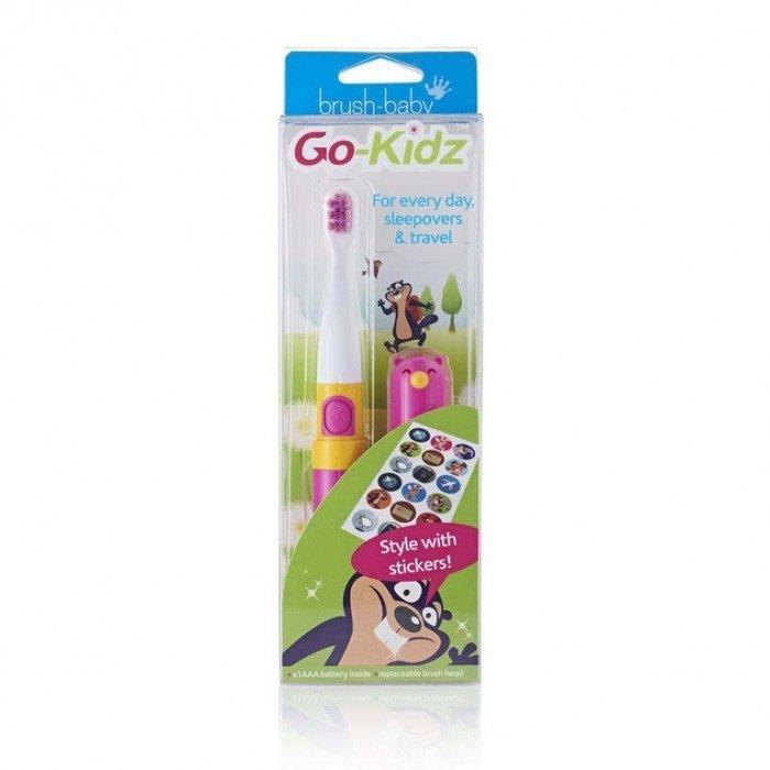 Детская электрическая звуковая зубная щетка с 3-х лет, розовая, Go-Kidz, Brush-Baby.