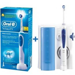 Іригатор Oral-B MD20 OxyJet + зубна щітка Vitality Cross Action/3D White 5 насадок