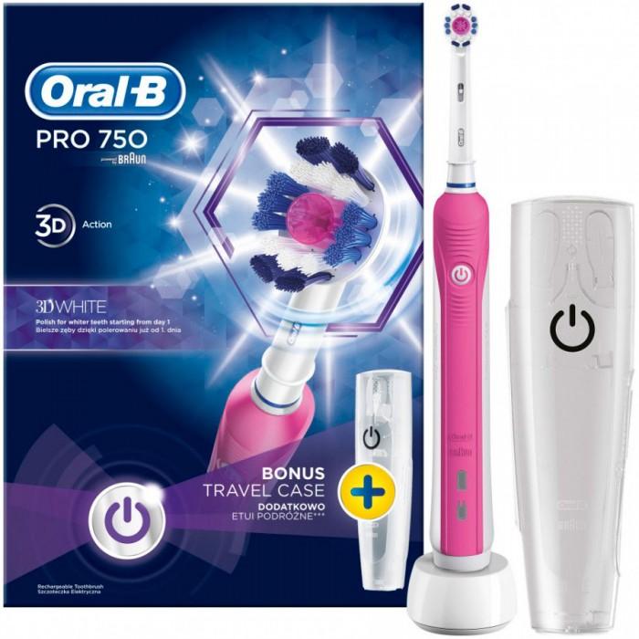 Зубная щетка Oral-B D16 PRO 750 Pink 3D White 1 насадка